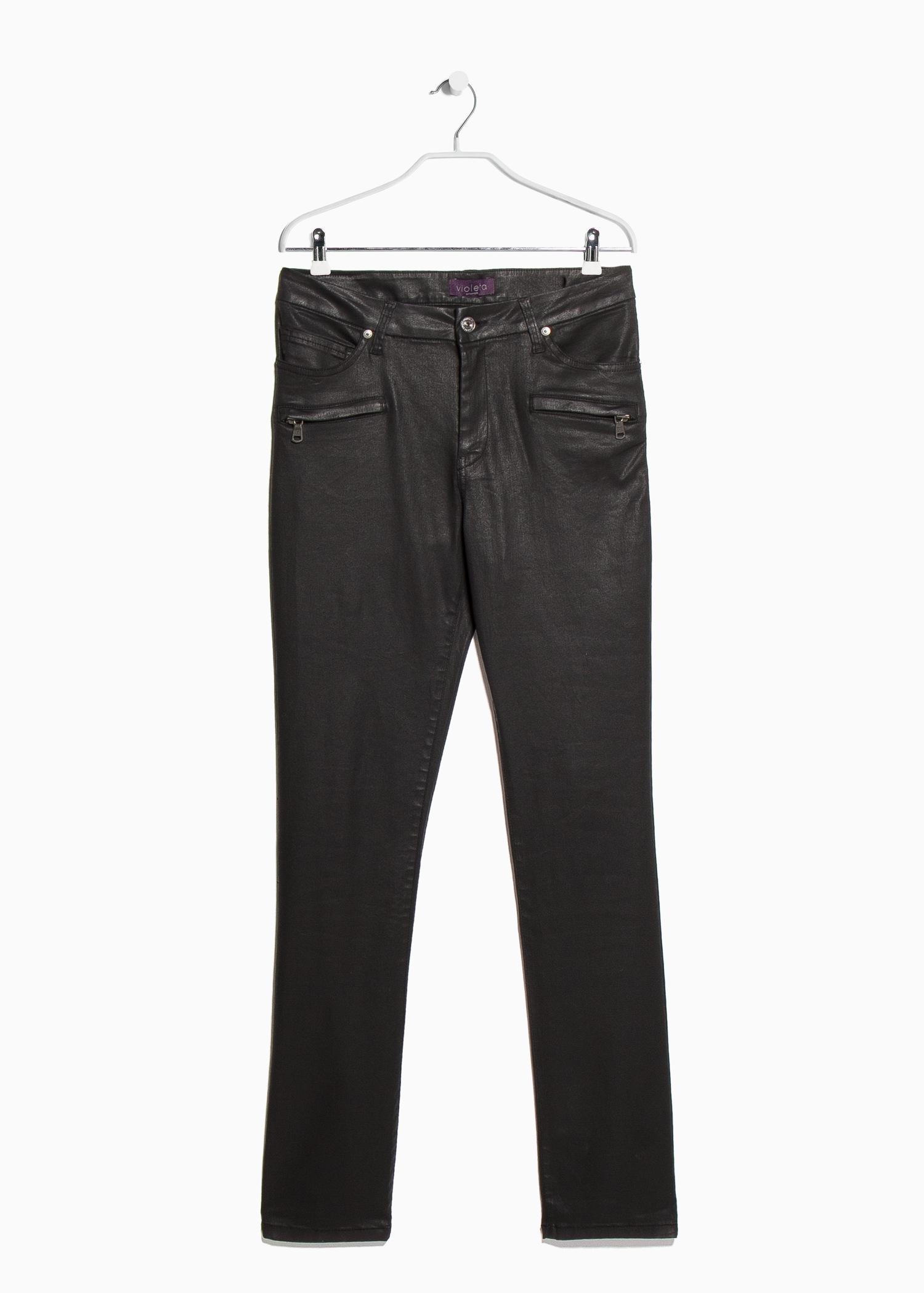 c4d0b752e Violeta by Mango Coated Slim-Fit Carmen Jeans in Black - Lyst