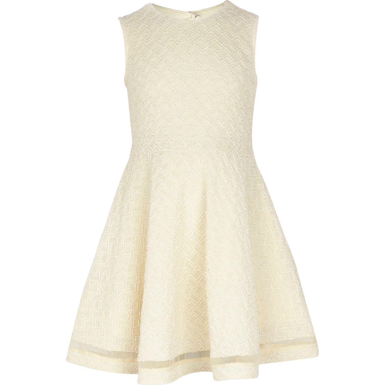 River island Girls Cream Knit Look Skater Dress in Beige ...