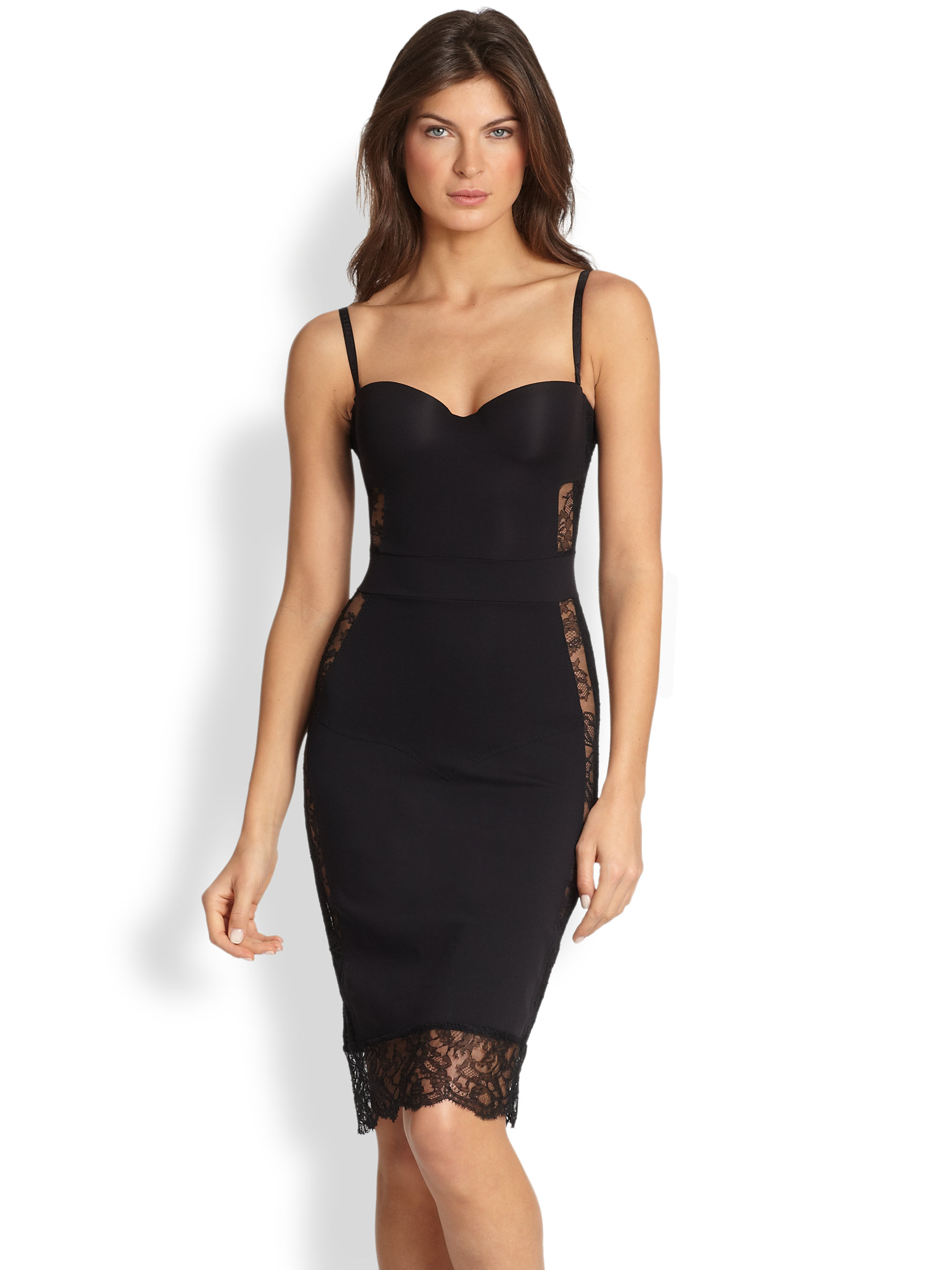 La perla Shape Allure Convertible Slip Dress in Black