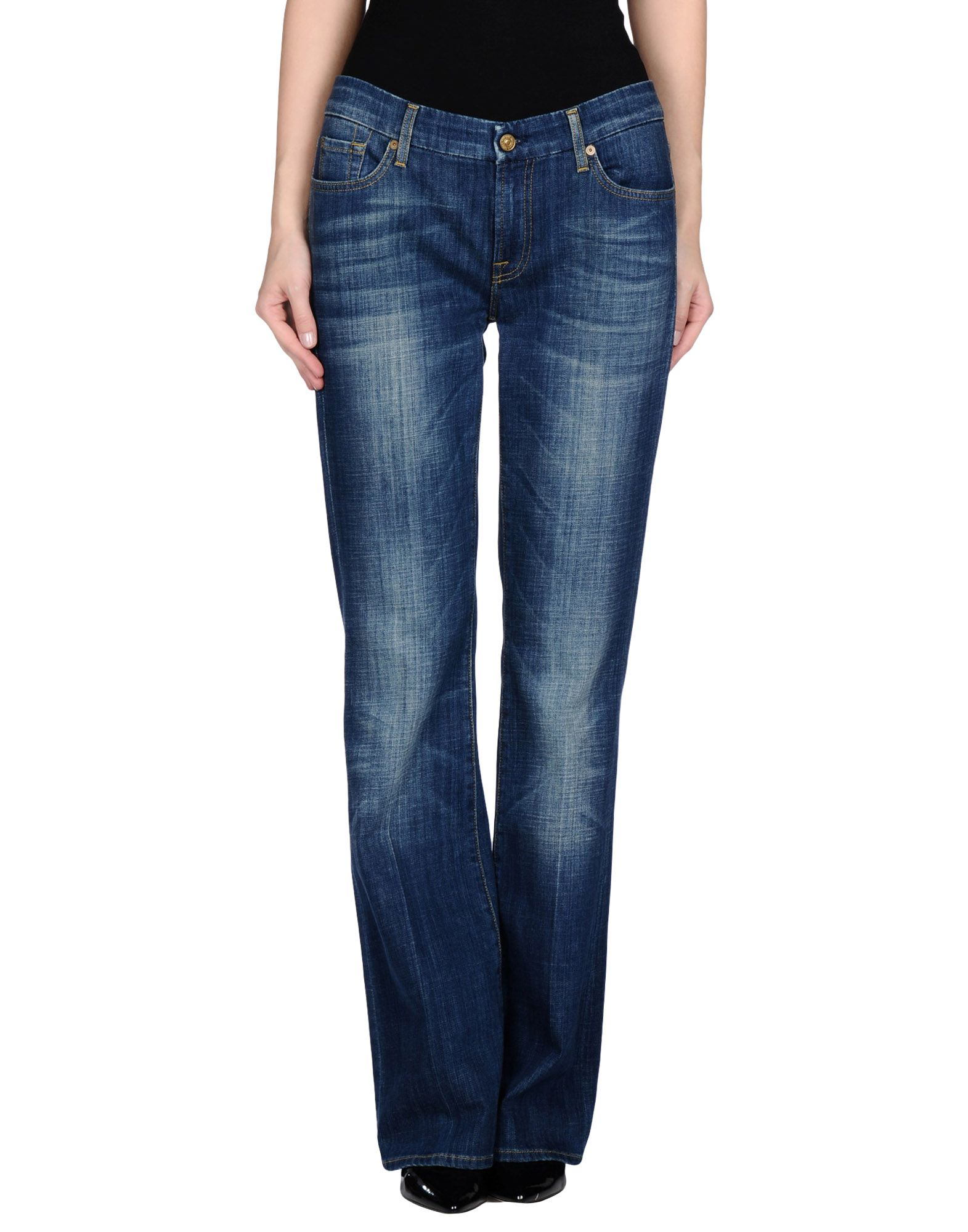 7 for all mankind denim trousers in blue lyst. Black Bedroom Furniture Sets. Home Design Ideas