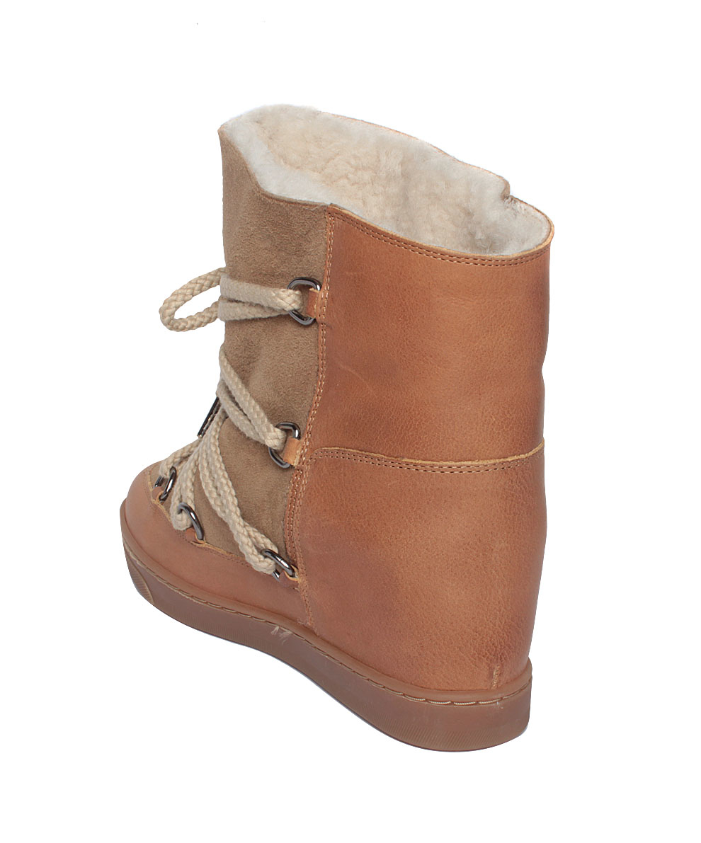 marant nowles suede shearling boots in beige