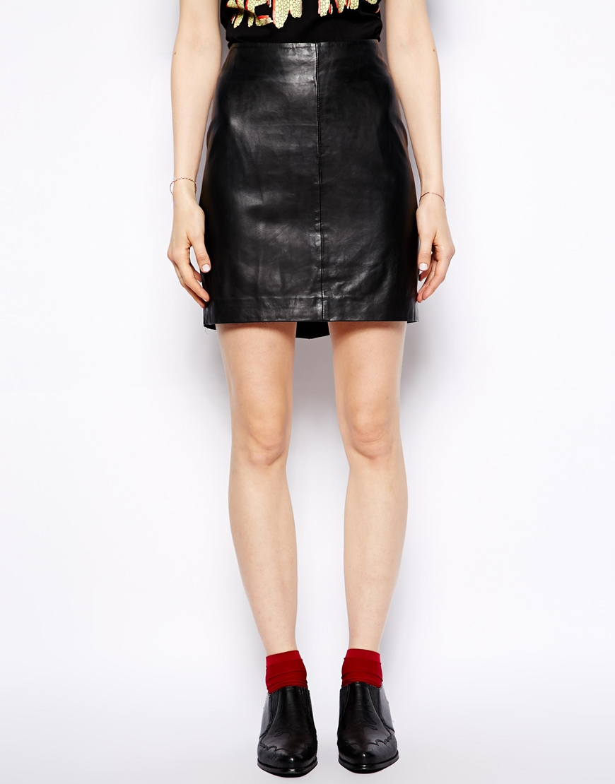 3b380dbba Muubaa Azka Fitted Leather Skirt in Black - Lyst