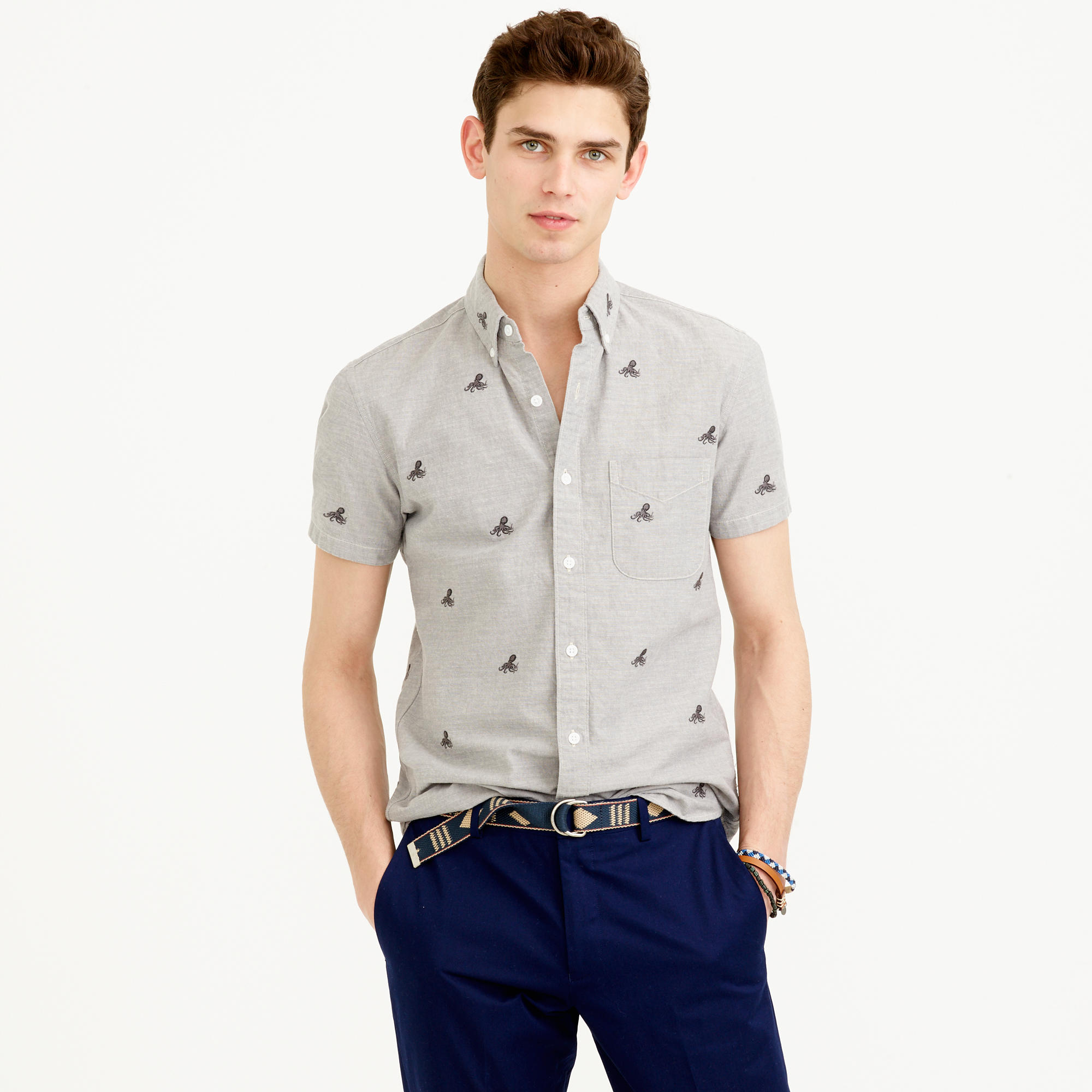 Short Sleeve Chambray Shirt With Embroidered Octopi