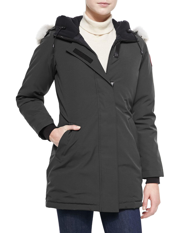 lyst canada goose victoria fur trimmed parka jacket in black. Black Bedroom Furniture Sets. Home Design Ideas