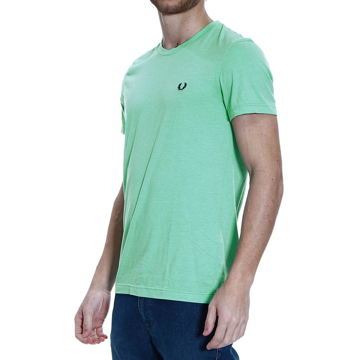 fred perry t shirt half sleeve crew neck logo basic in green for men. Black Bedroom Furniture Sets. Home Design Ideas