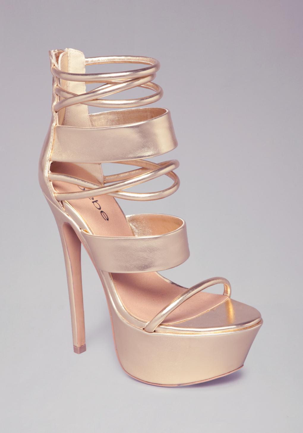 3d55f9fb1f7 Lyst - Bebe Daniella Strappy Sandals in Metallic