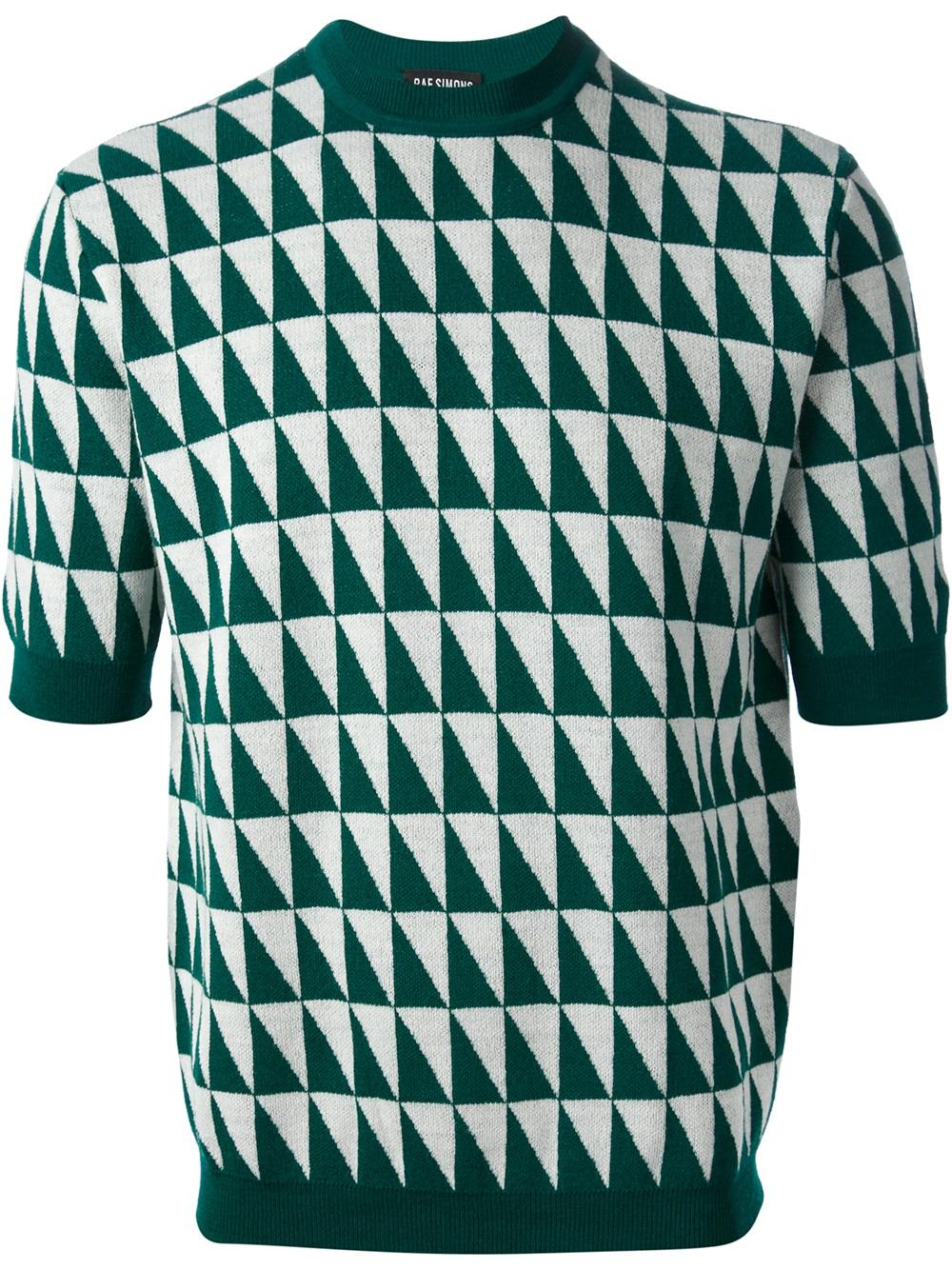 Raf simons Short Sleeve Sweater in Green for Men   Lyst
