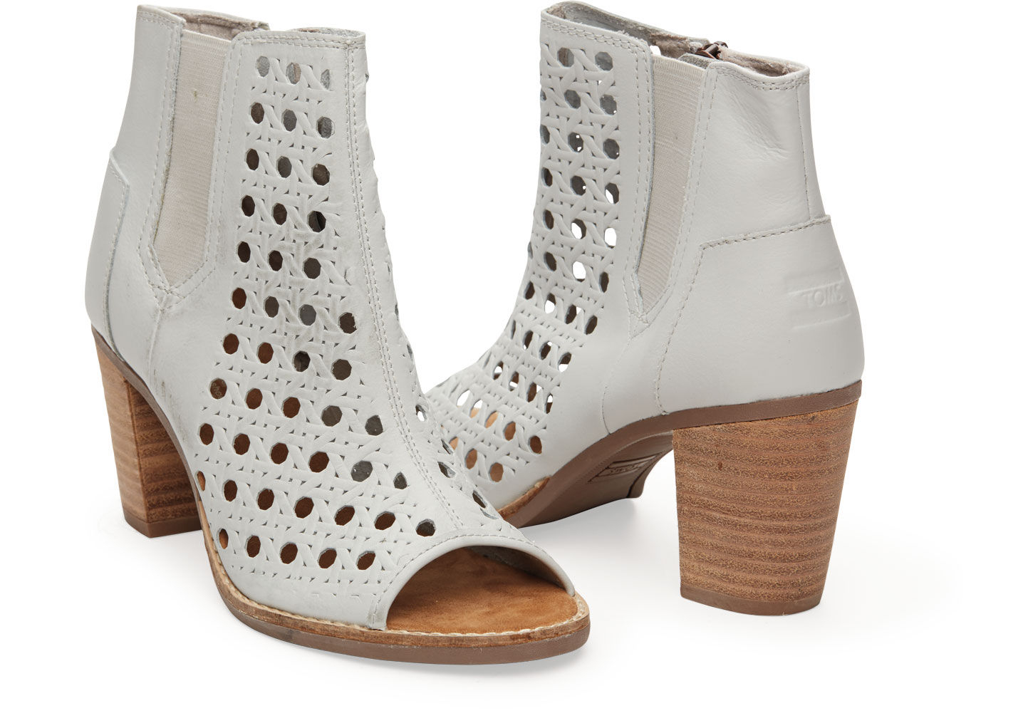 0bdf19d45df Lyst - TOMS Leather Basket Weave Womens Majorca Peep Toe Bootie in White