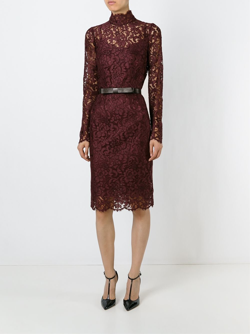 Dolce Amp Gabbana High Neck Lace Dress In Brown Pink