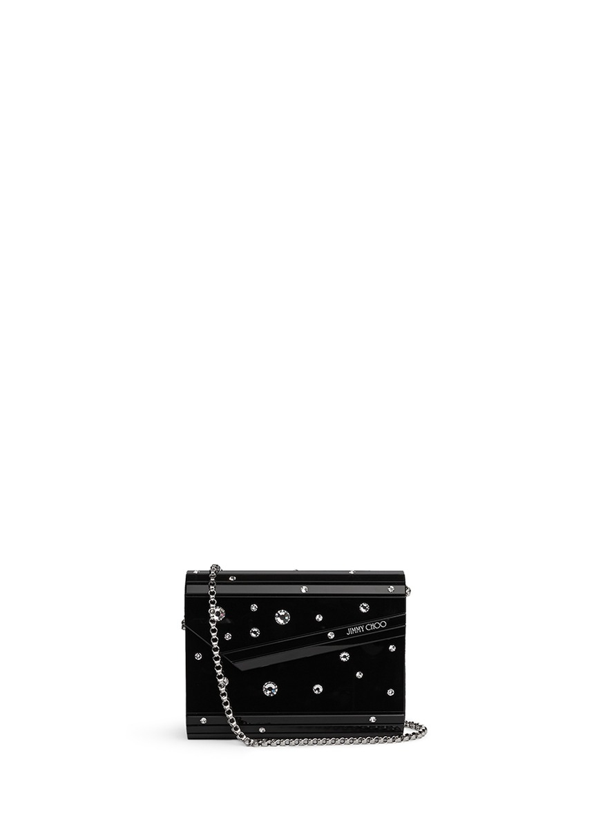 5d6bfda4a2e5 Jimmy Choo 'candy' Crystal Embellished Acrylic Clutch in Black - Lyst