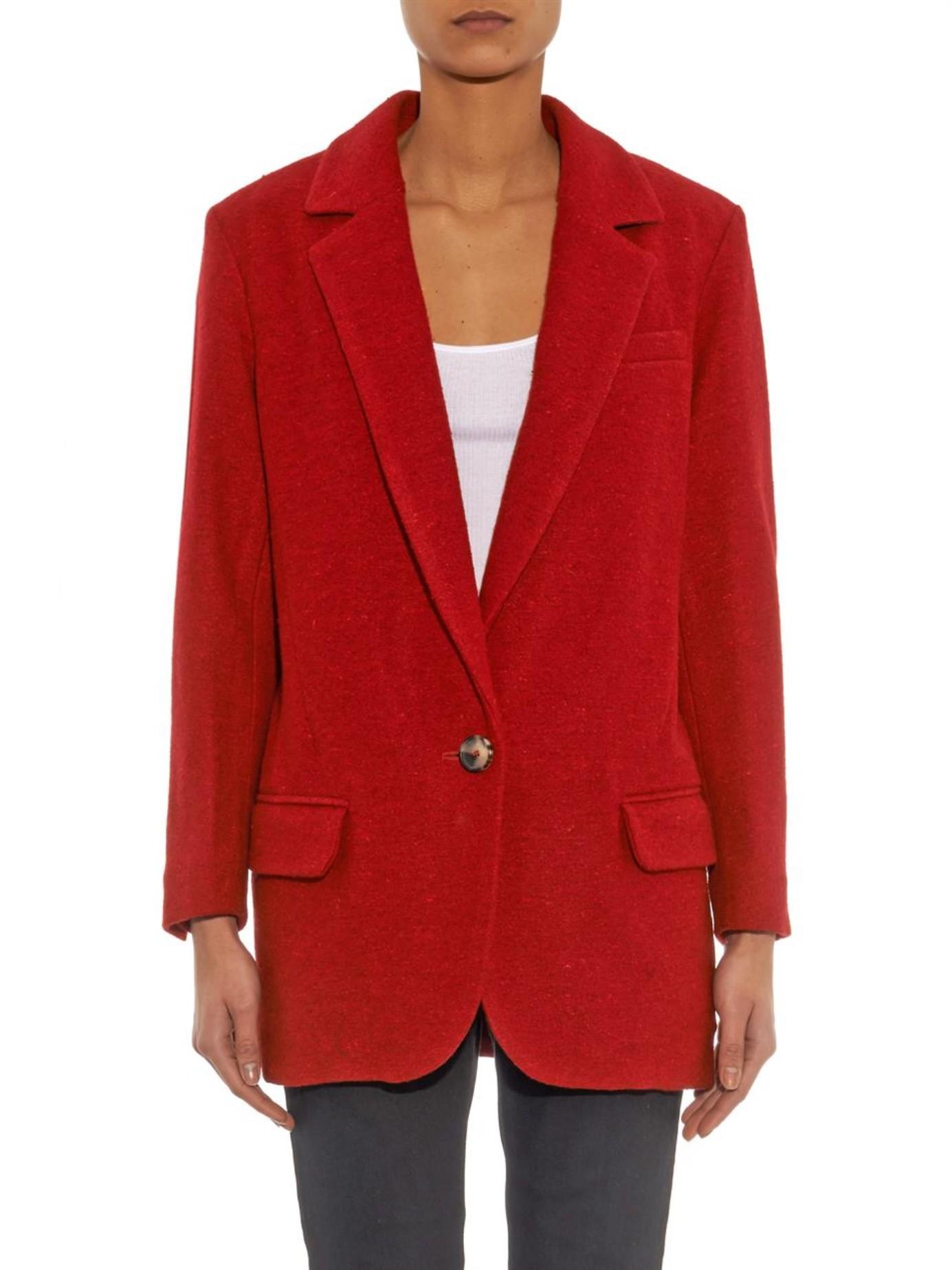 toile isabel marant dean oversized blazer in red lyst. Black Bedroom Furniture Sets. Home Design Ideas