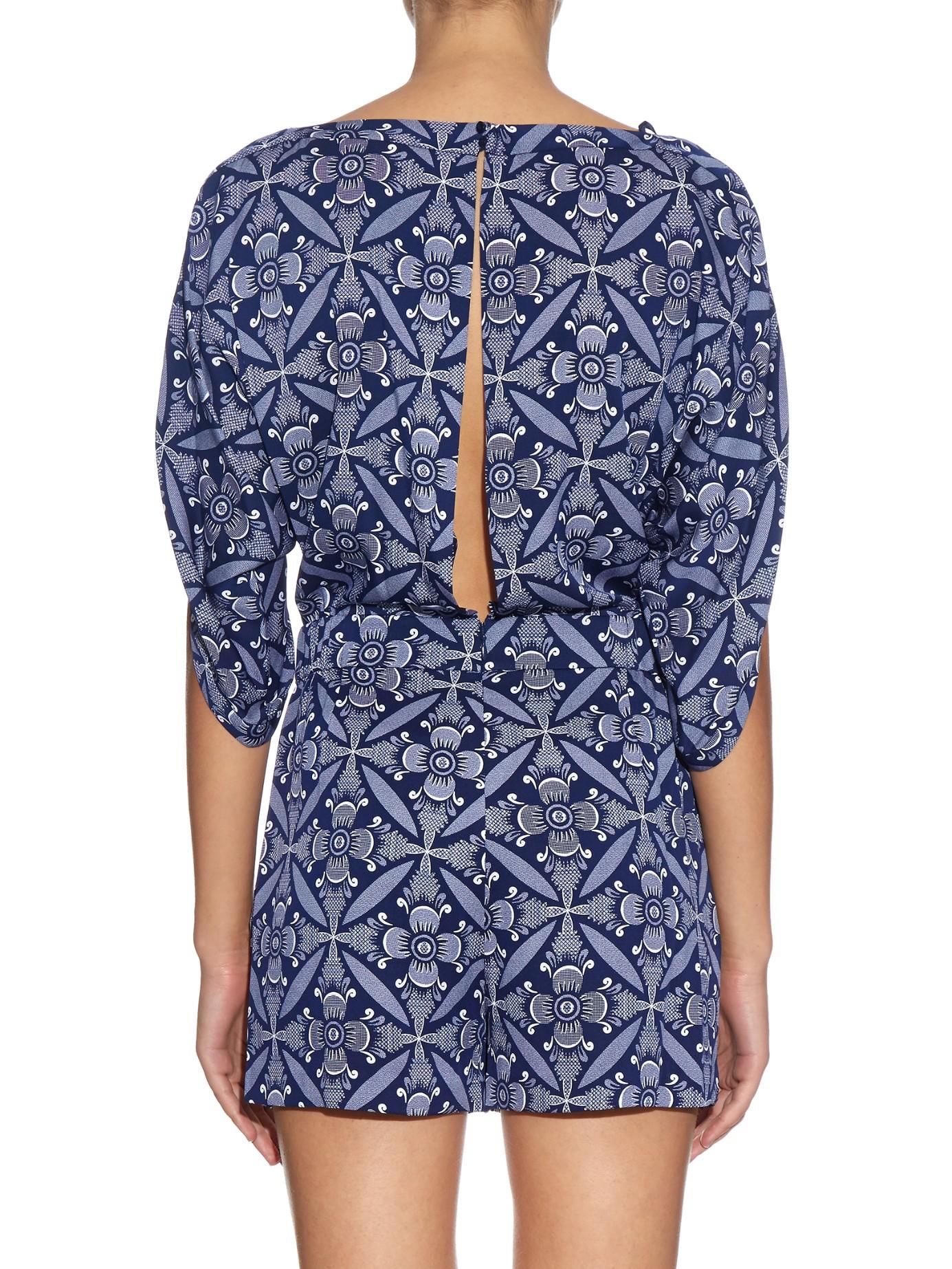 3012ed70689 Lyst - Diane von Furstenberg Soleil Playsuit in Blue