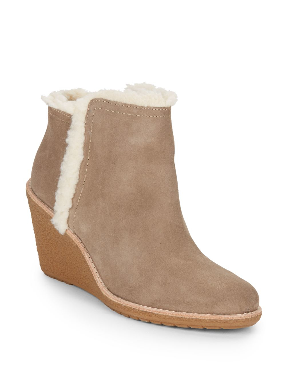 cole haan faux fur trimmed waterproof suede ankle