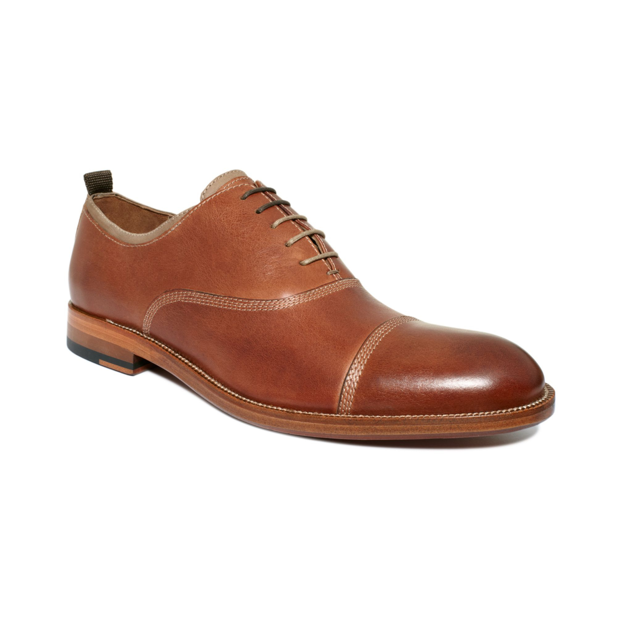 Johnston Amp Murphy Clayton Cap Toe Lace Shoes In Brown For