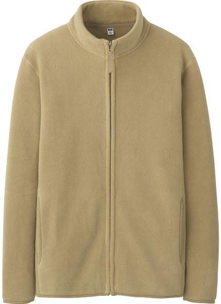 Uniqlo Men Fleece Full Zip Jacket In Khaki For Men Beige