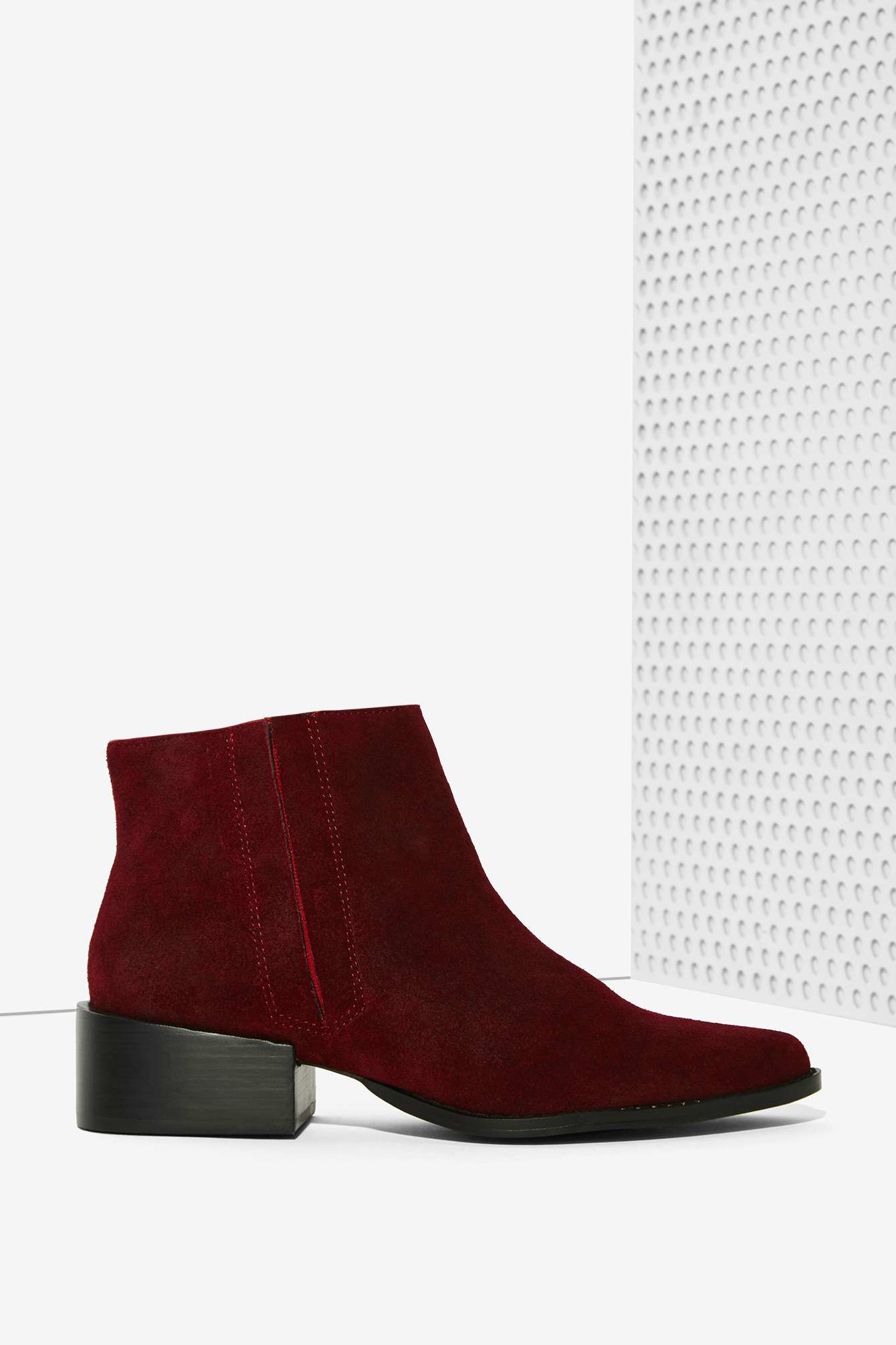 grey city west suede ankle boot burgundy in lyst