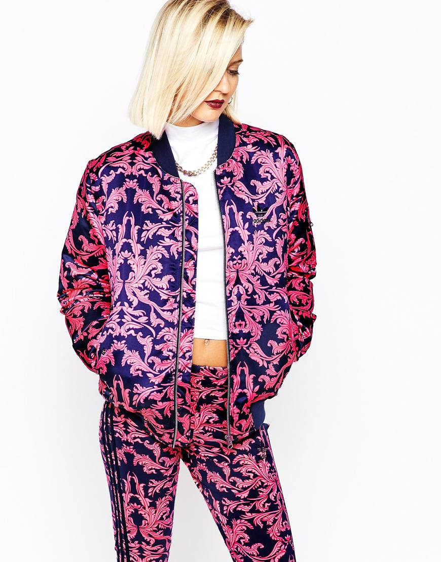dce9a1c71e1 Lyst - adidas Silky Bomber Jacket In Baroque Ornament Print in Purple