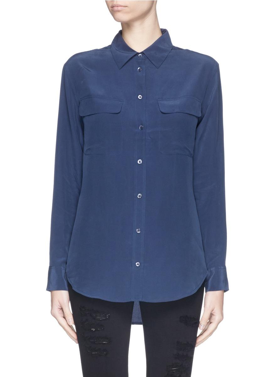 Equipment 39 slim signature 39 silk shirt in blue lyst for Equipment signature silk shirt