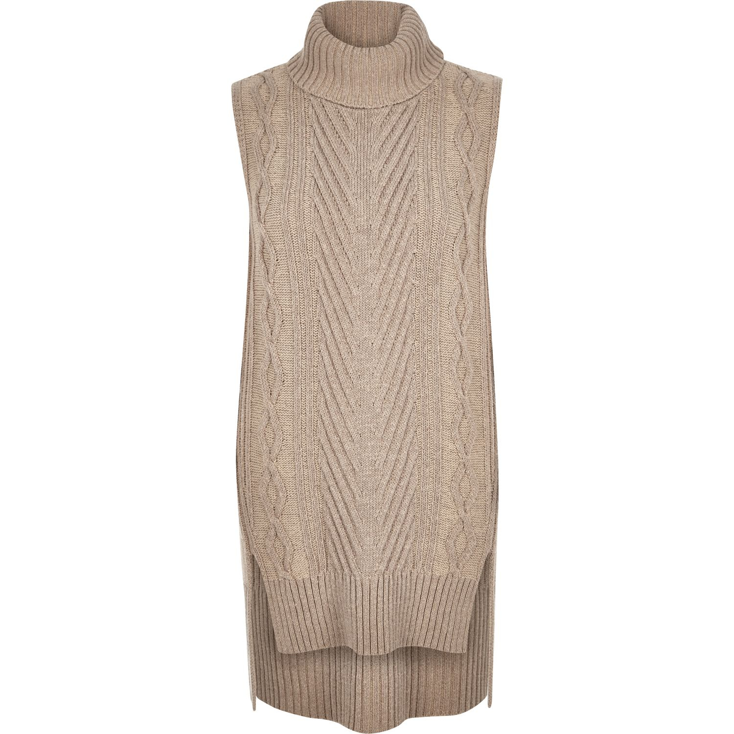 River island Beige Knitted Sleeveless Jumper in Natural Lyst