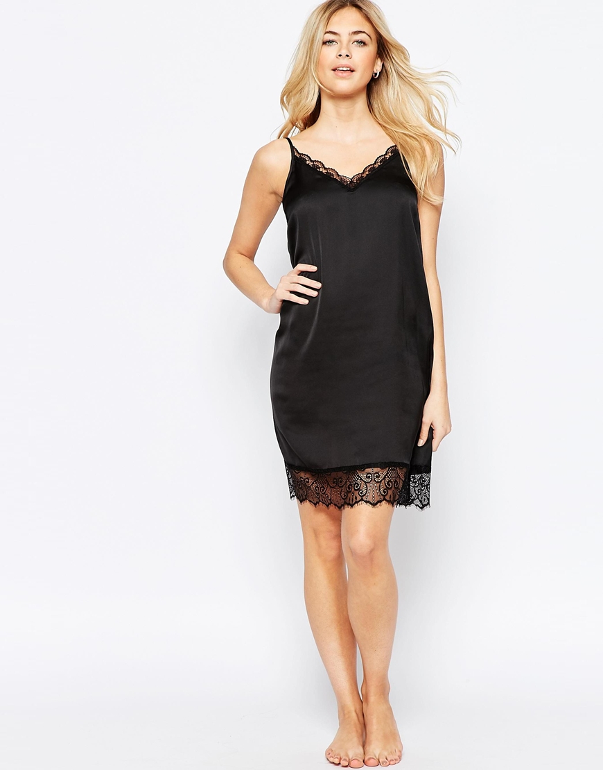 Vila Lace Trim Slip Dress in Black
