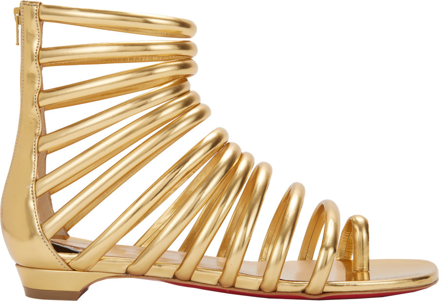 9aef34dc903a ... low price christian louboutin catchetta flat gladiator sandals in  metallic lyst a888d 48314