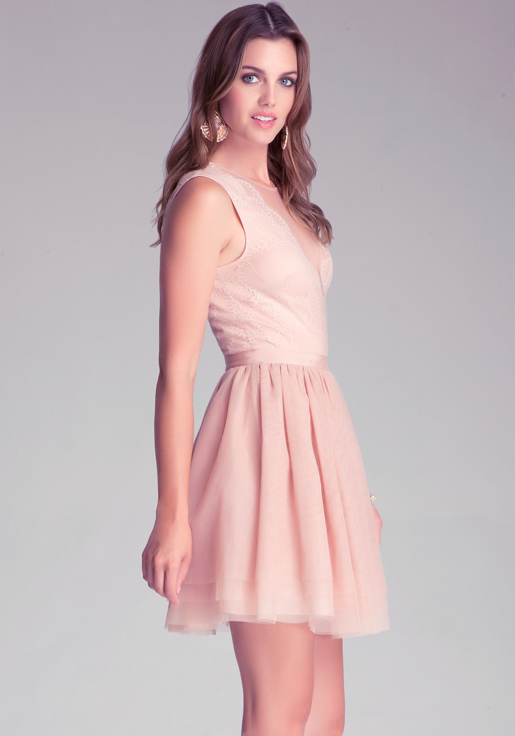 Lyst - Bebe Flare Puff Skirt Dress in Pink