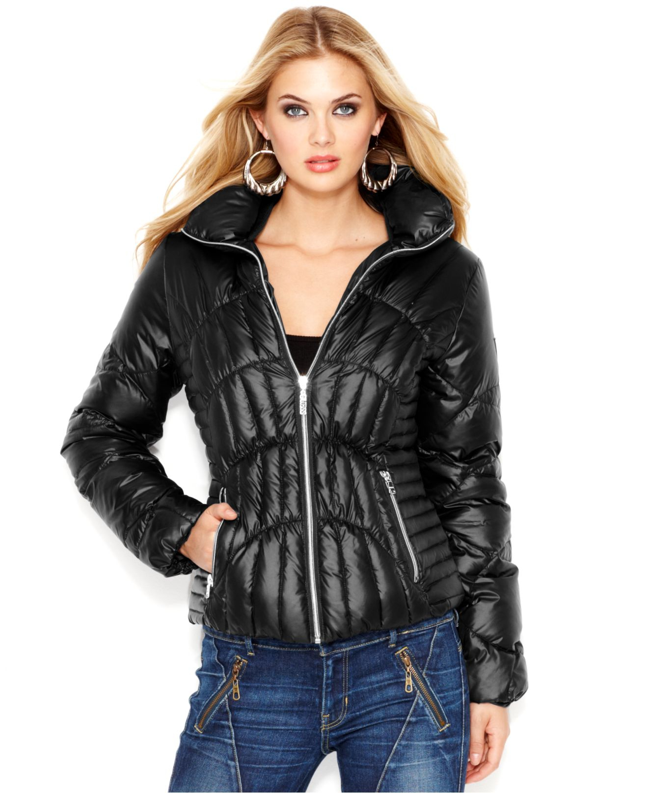 Guess Quilted Down Puffer Jacket In Black Lyst