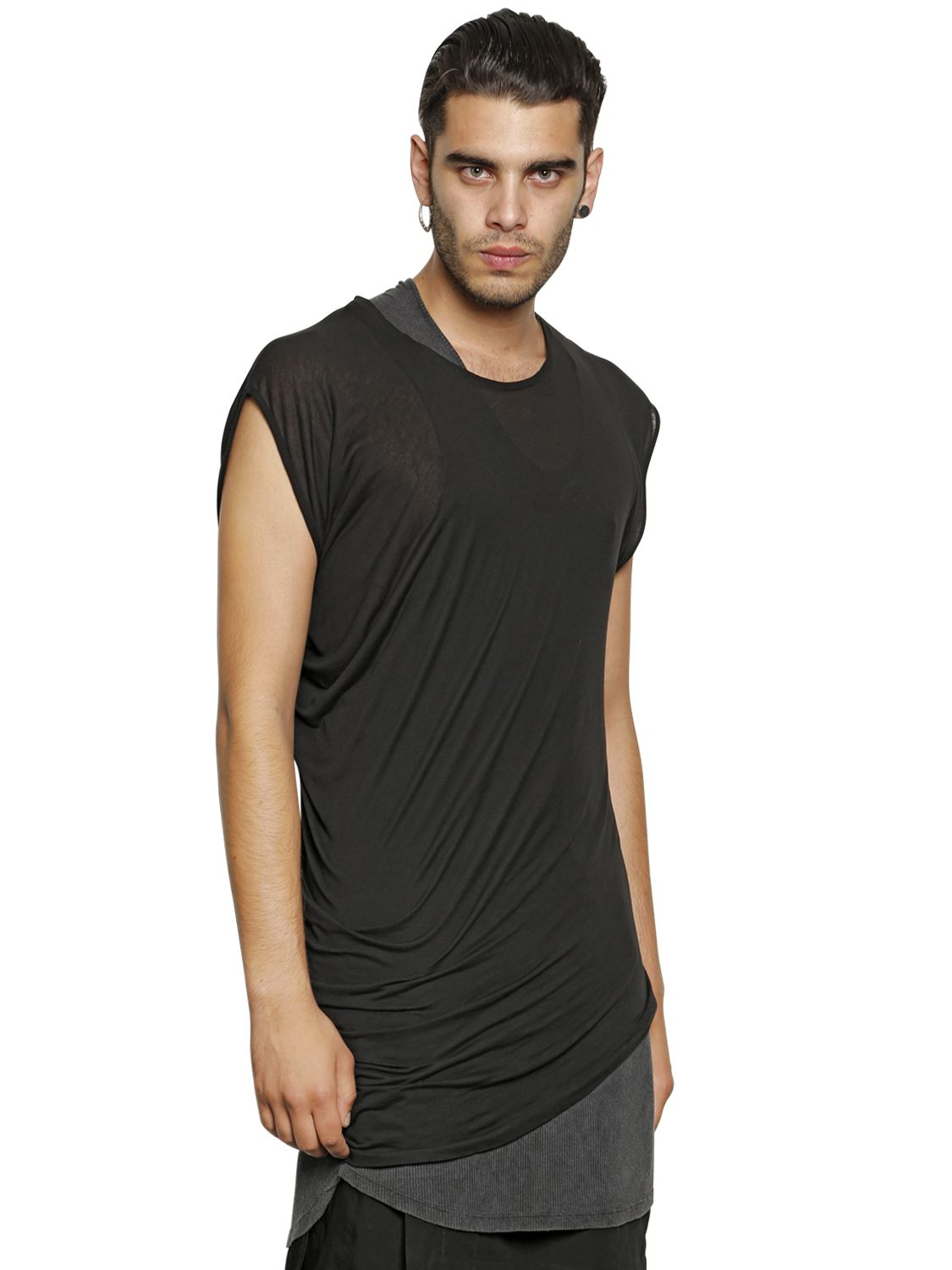 Tom rebl asymmetrical long modal jersey t shirt in black for Modal t shirts mens