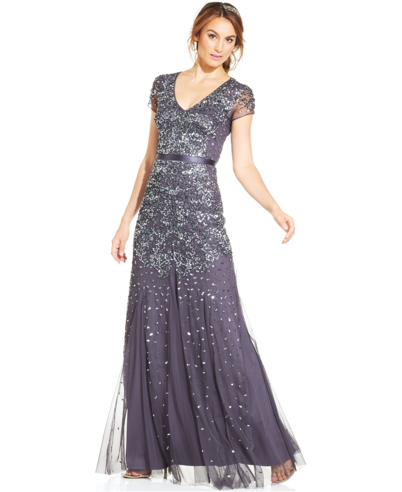 Lyst - Adrianna Papell Cap-sleeve Embellished Gown in Metallic