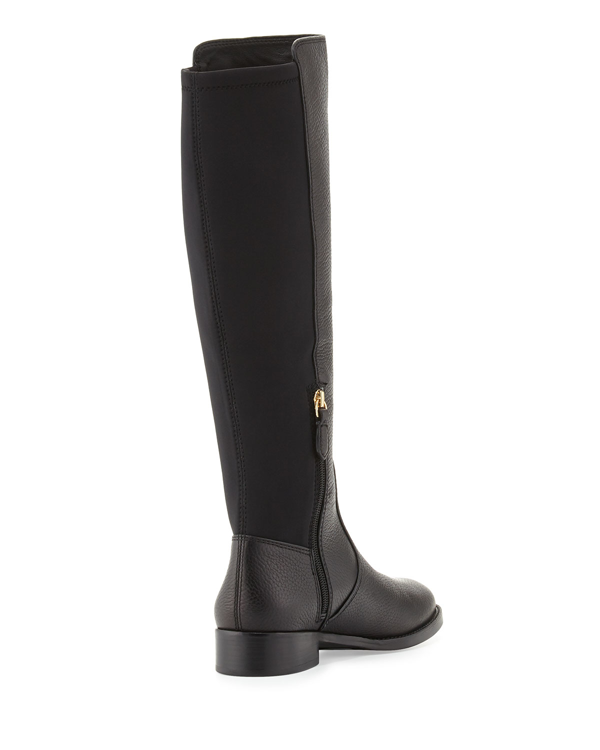 e3935b807bf9 Lyst - Tory Burch Selden Pebbled-Leather Riding Boots in Black
