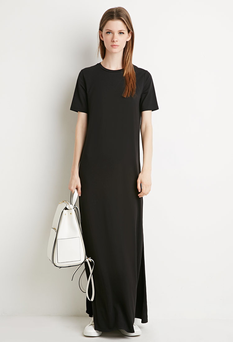 Forever 21 Side Slit T Shirt Maxi Dress In Black Lyst