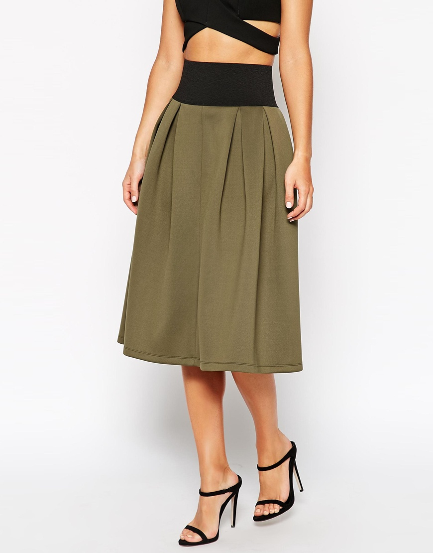 asos midi skirt in scuba with exposed elastic in green lyst