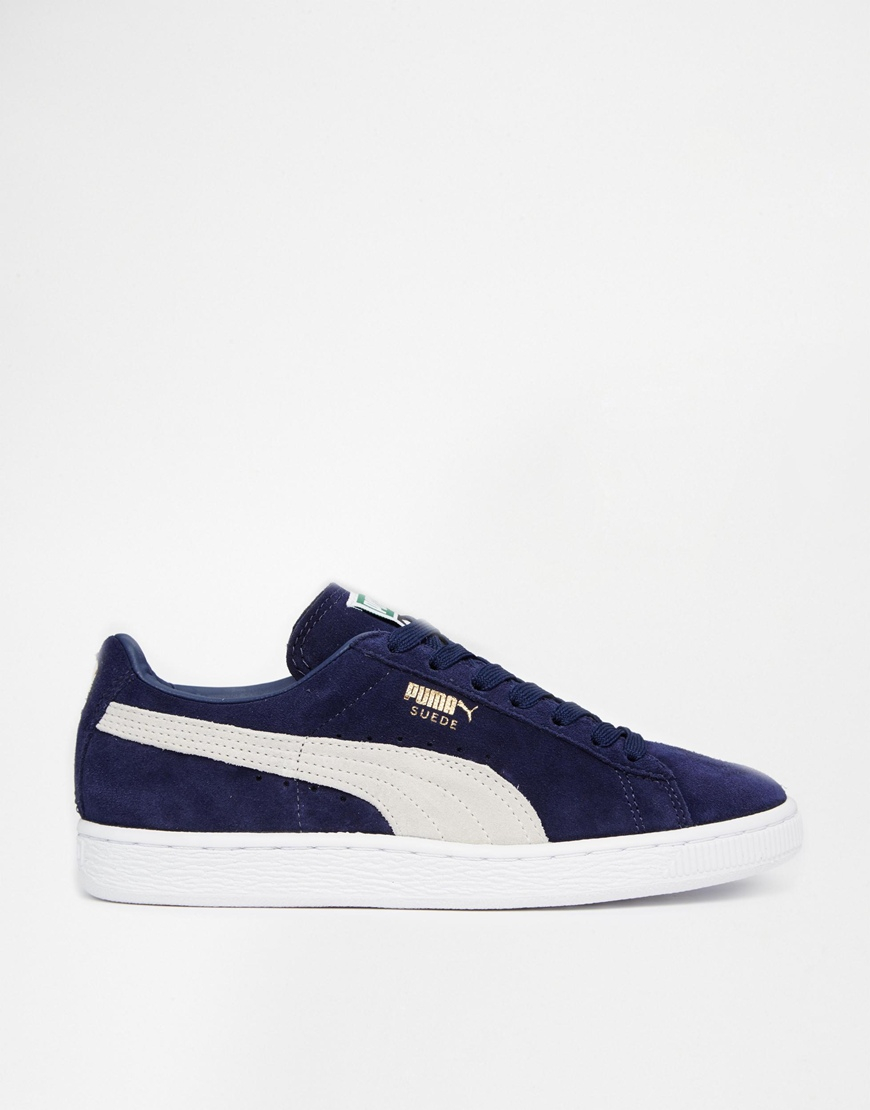 Lyst - PUMA Classic Suede Navy Peacoat Trainers in Blue 1f2b932823