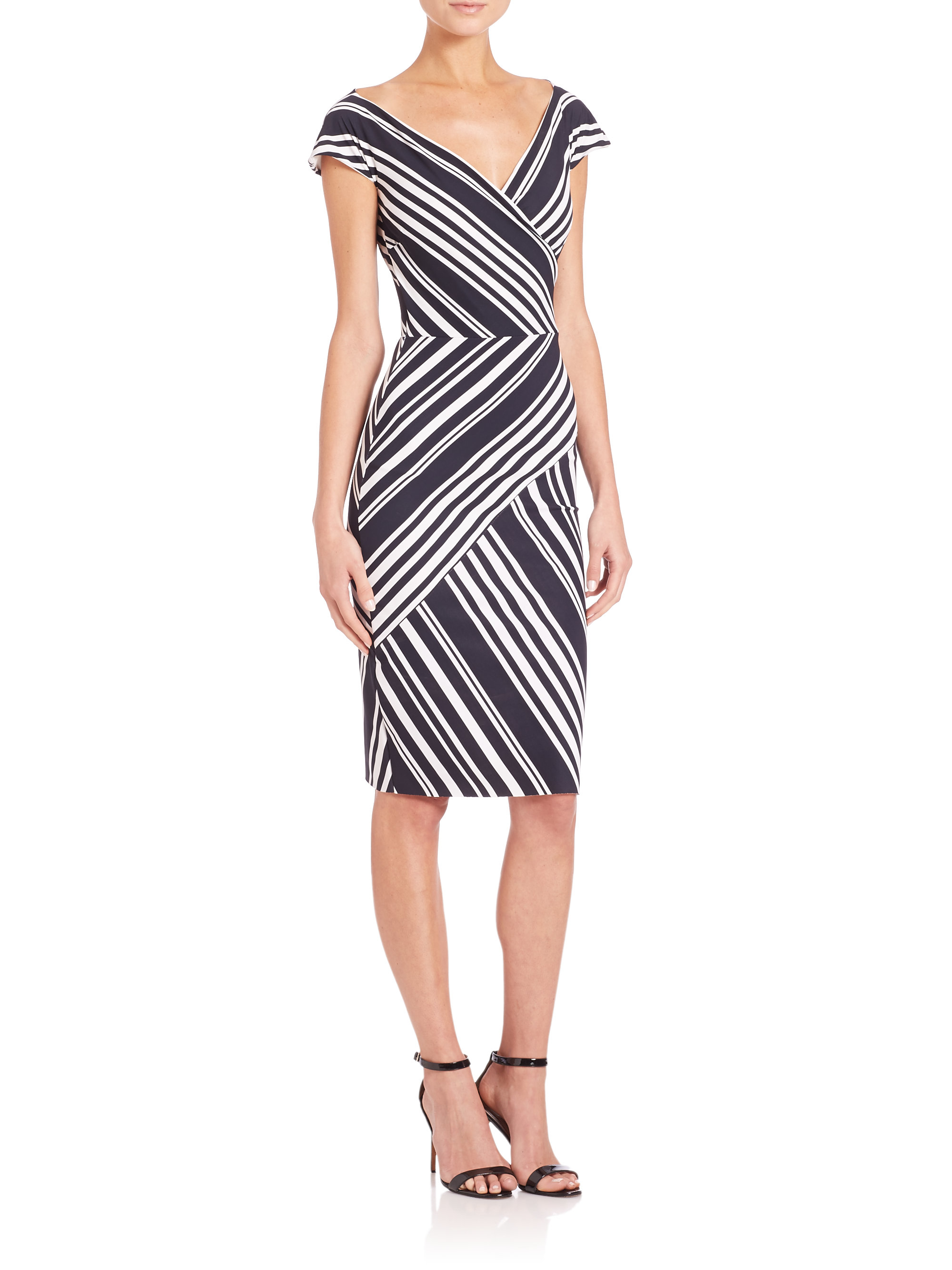 lyst la petite robe di chiara boni cap sleeve variegated stripe dress in black. Black Bedroom Furniture Sets. Home Design Ideas