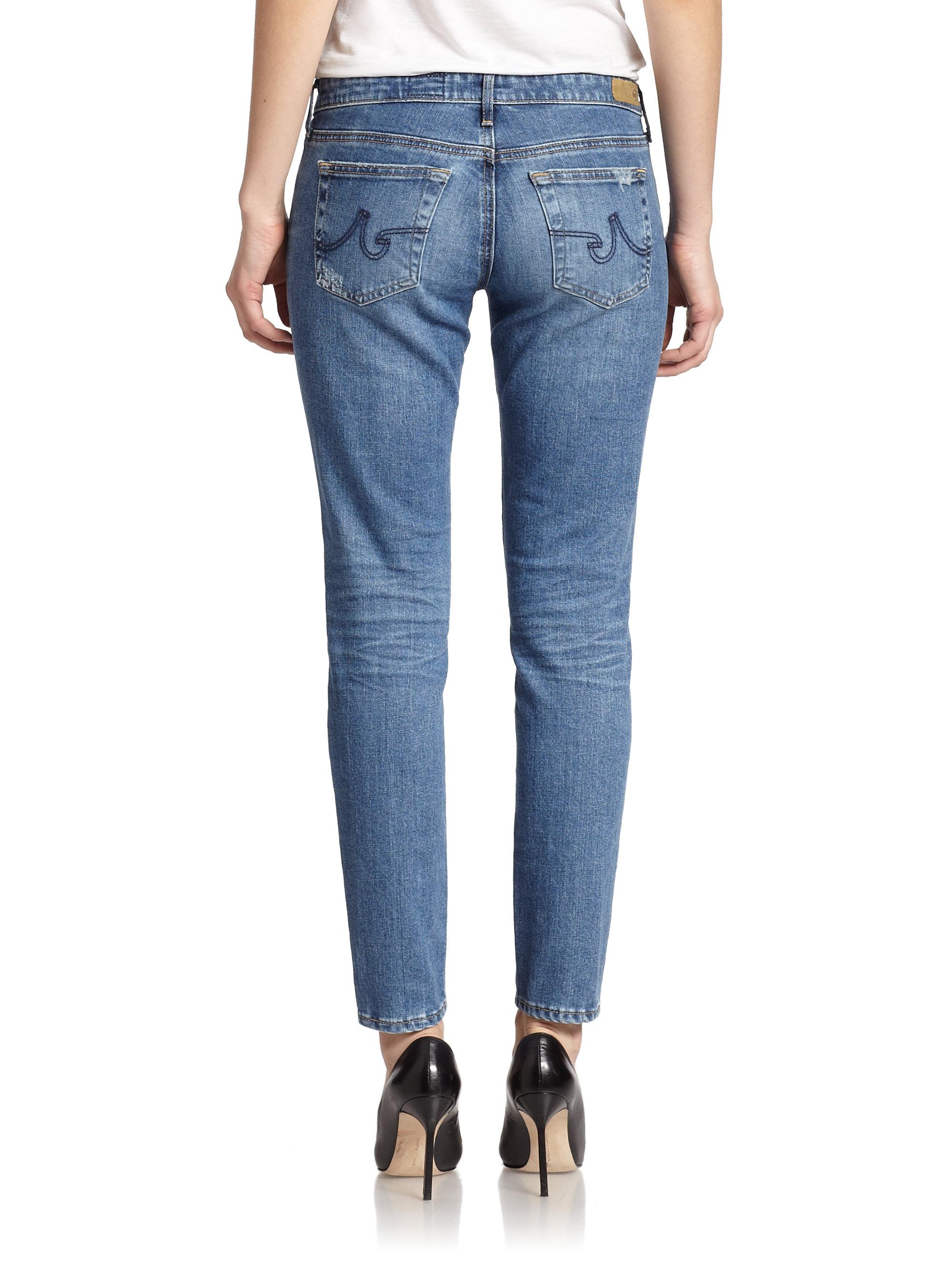 Ag Jeans Stilt Distressed Cigarette Jeans In Blue 17