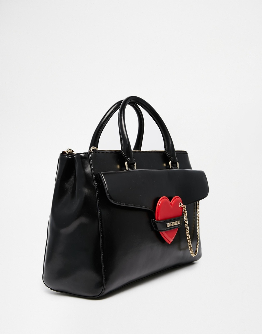 love moschino tote bag with heart detail in black lyst. Black Bedroom Furniture Sets. Home Design Ideas
