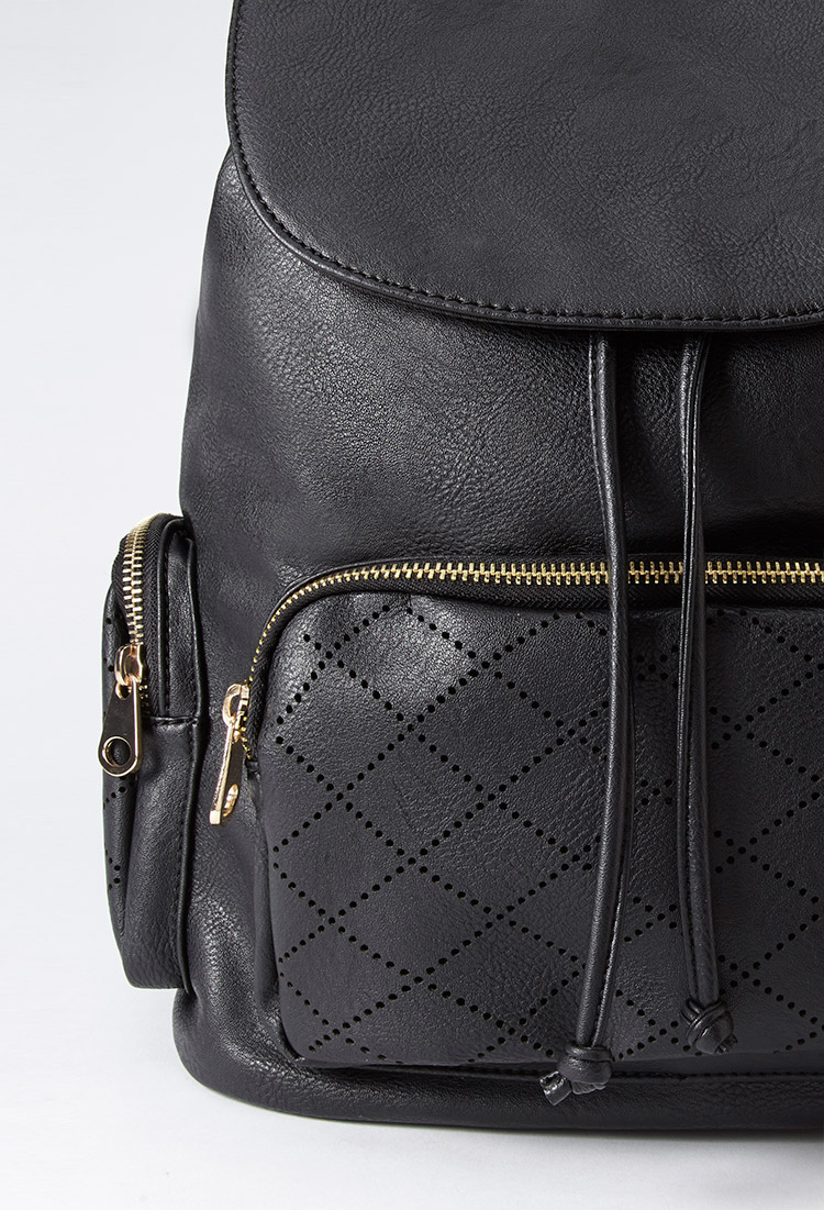 Forever 21 Perforated Faux Leather Backpack In Black Lyst