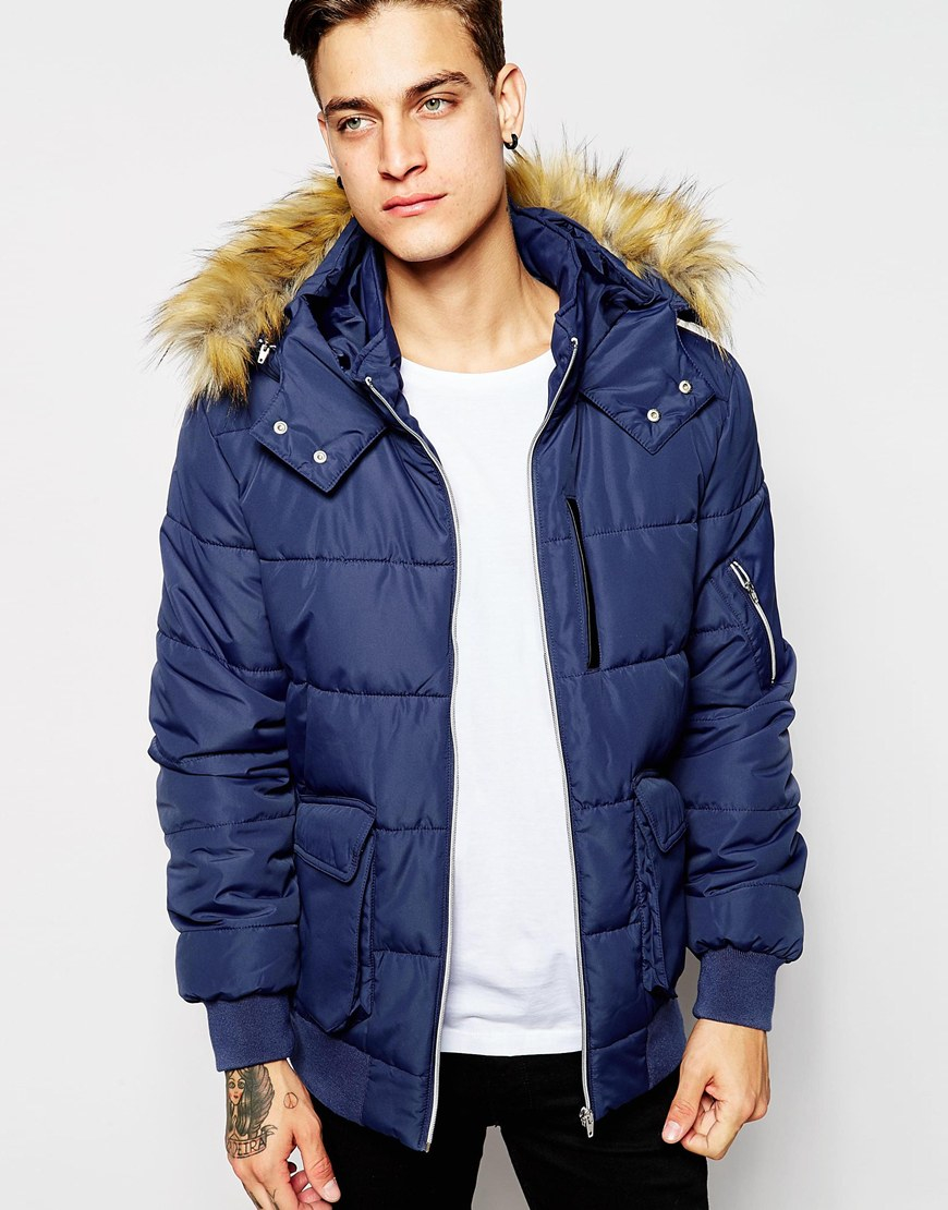 Asos Short Quilted Parka With Faux Fur Hood In Navy in Blue for ...