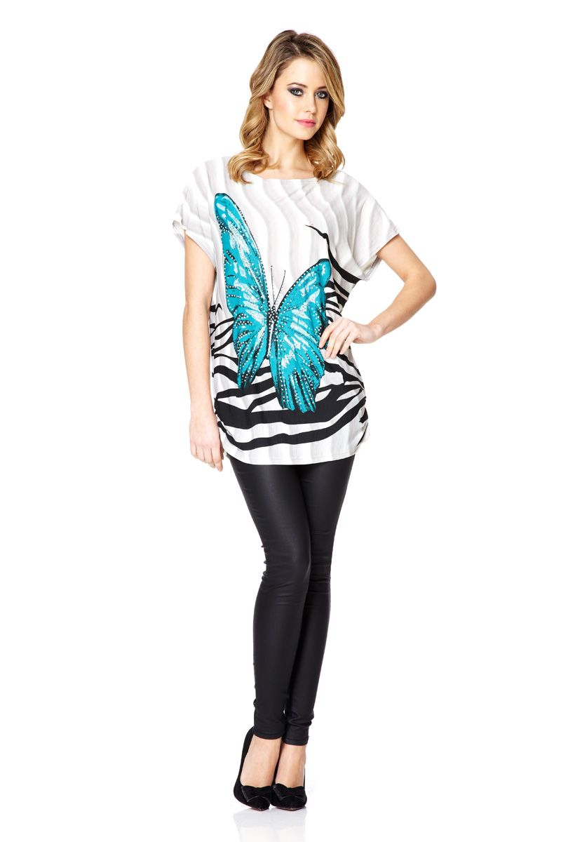 Lyst Quiz Butterfly Print Top In Blue