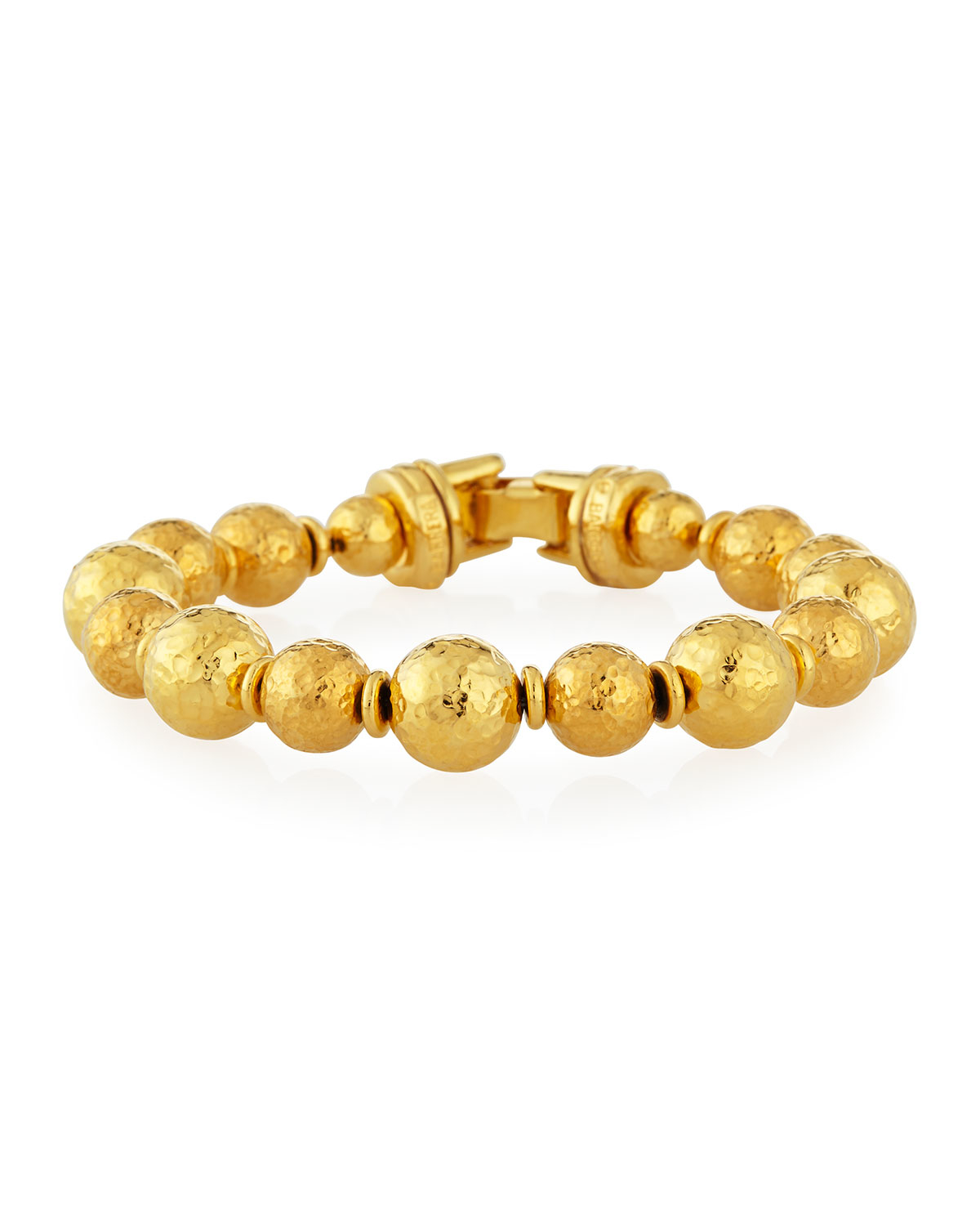 jose barrera gold plated hammered bead bracelet in
