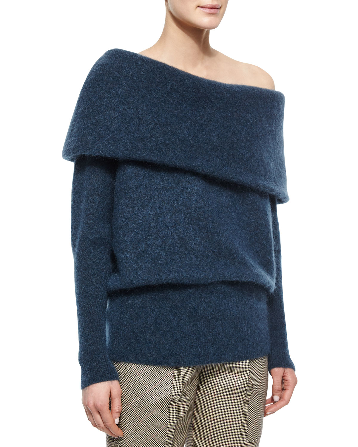 Acne studios Oversized Off-the-shoulder Sweater in Blue | Lyst