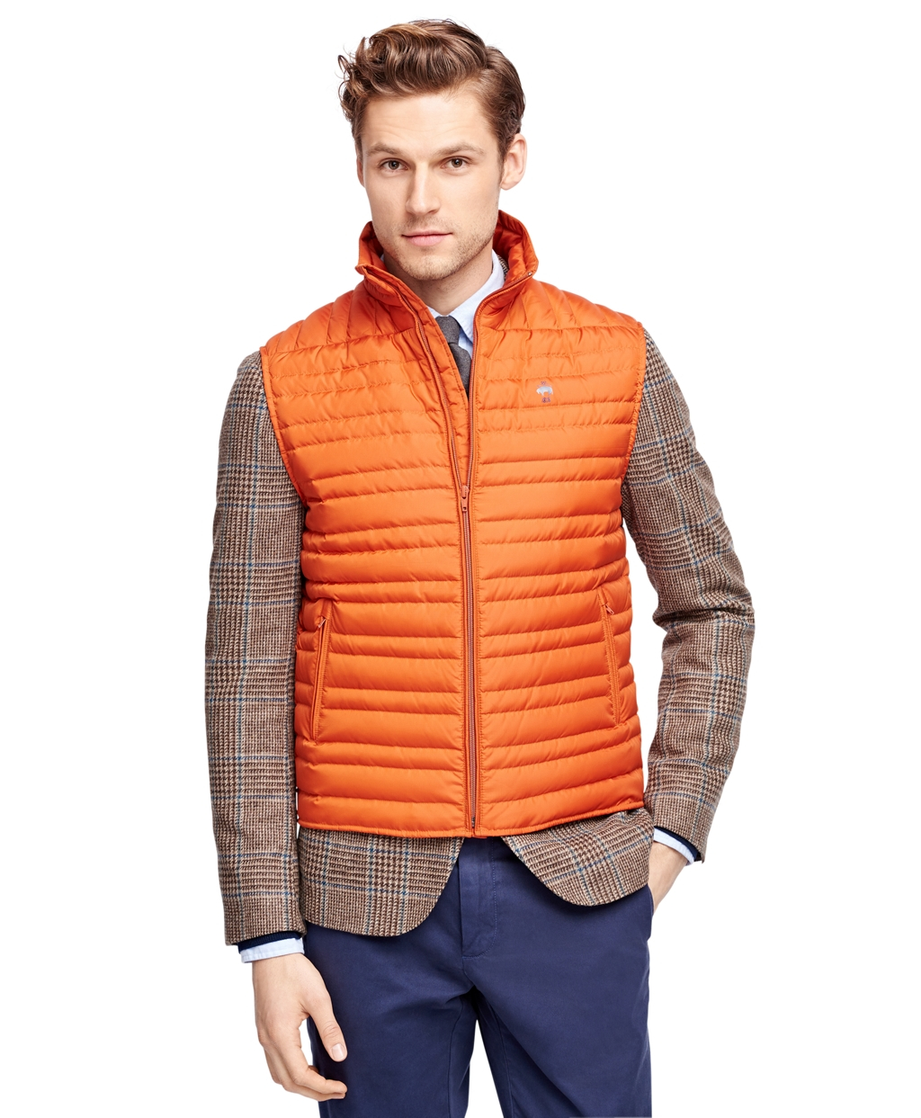 Brooks brothers Down Quilted Vest in Brown | Lyst : down quilted vest - Adamdwight.com