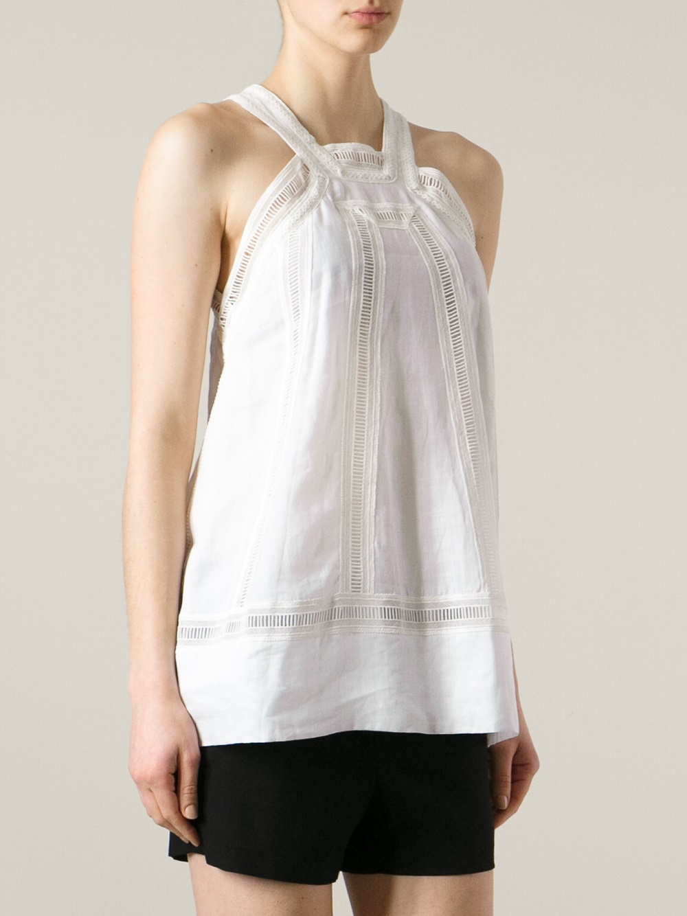 dondup broderie anglaise detail blouse in white lyst. Black Bedroom Furniture Sets. Home Design Ideas