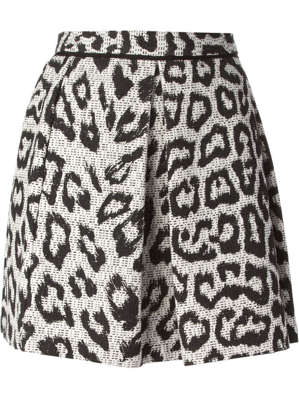 sea leopard pattern jacquard box pleated skirt in black lyst