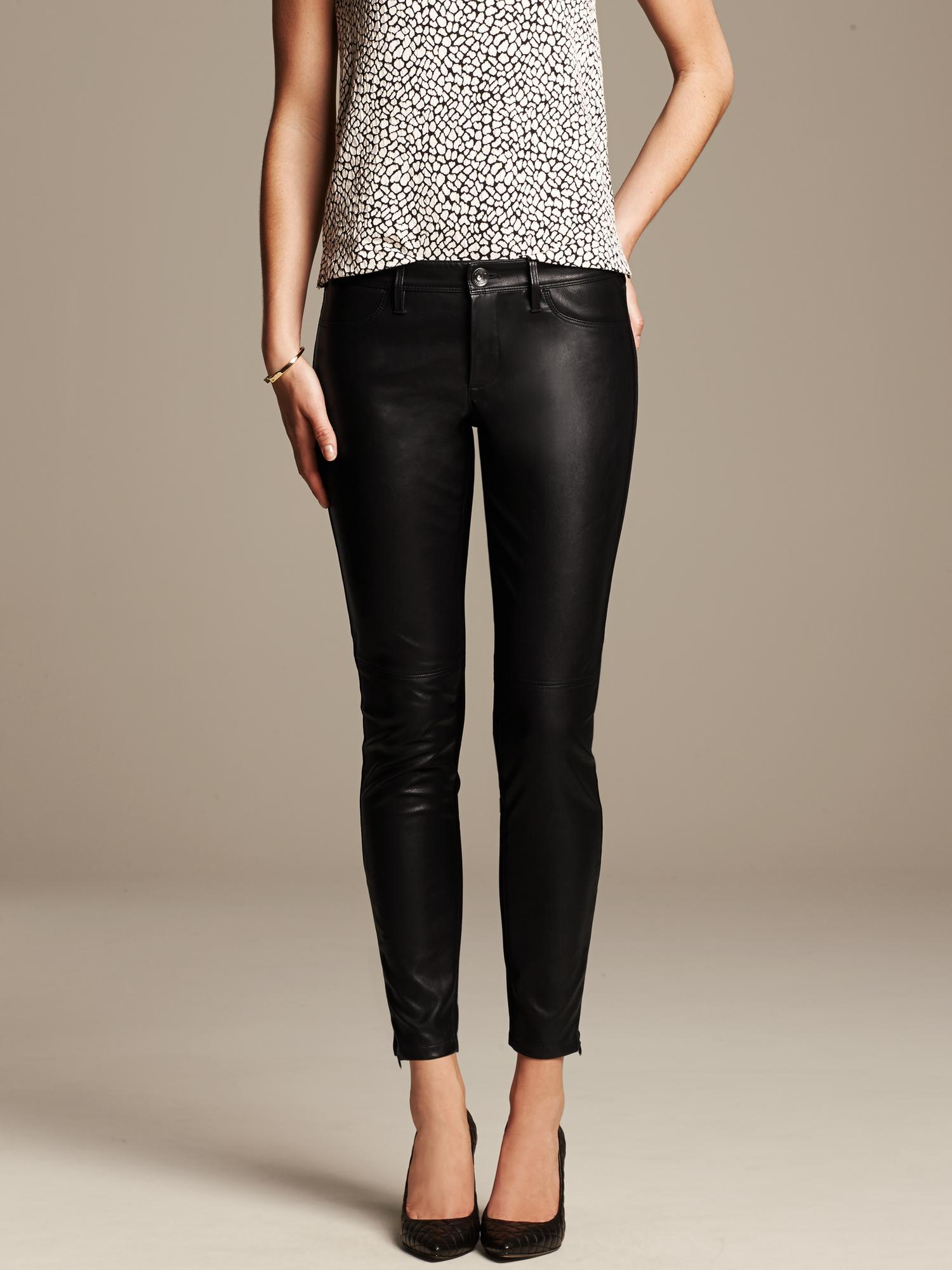 Banana Republic Sloan Fit Faux Leather Ankle Pant Black in Black