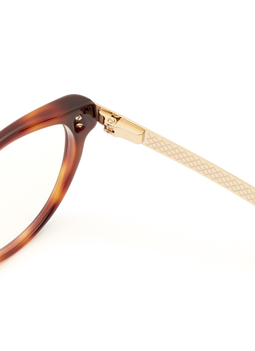 Lyst Gucci Metal Arm Tortoiseshell Frame Optical Glasses