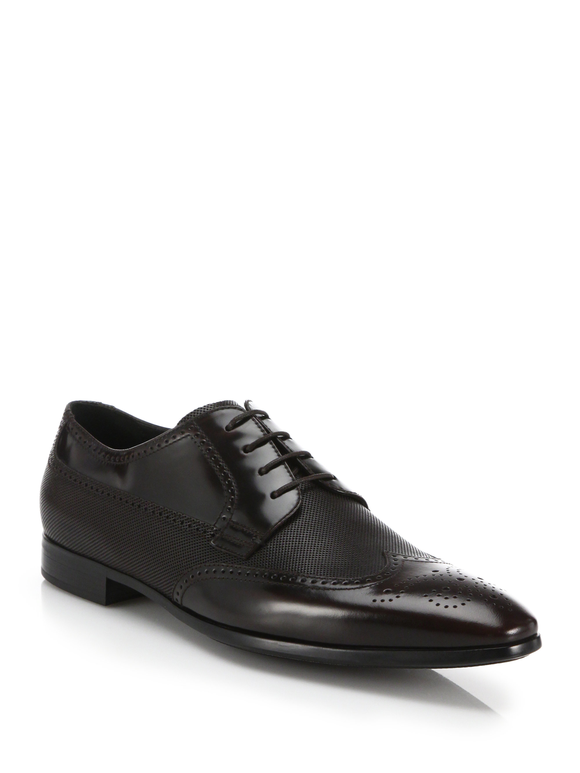 Giorgio armani Leather Wingtip Lace-up Shoes in Brown for ...
