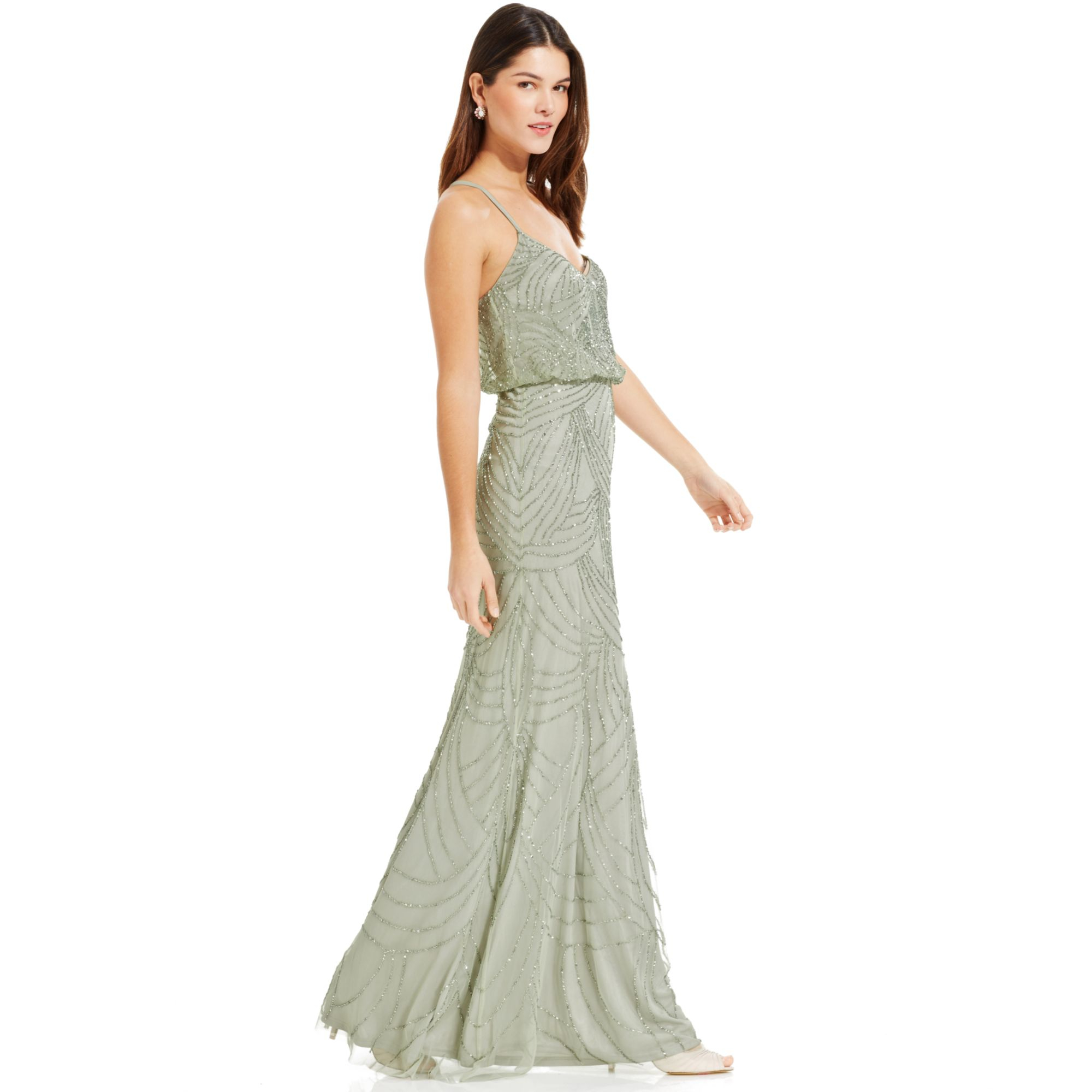 Lyst - Adrianna Papell Sleeveless Beaded Blouson Gown in Green