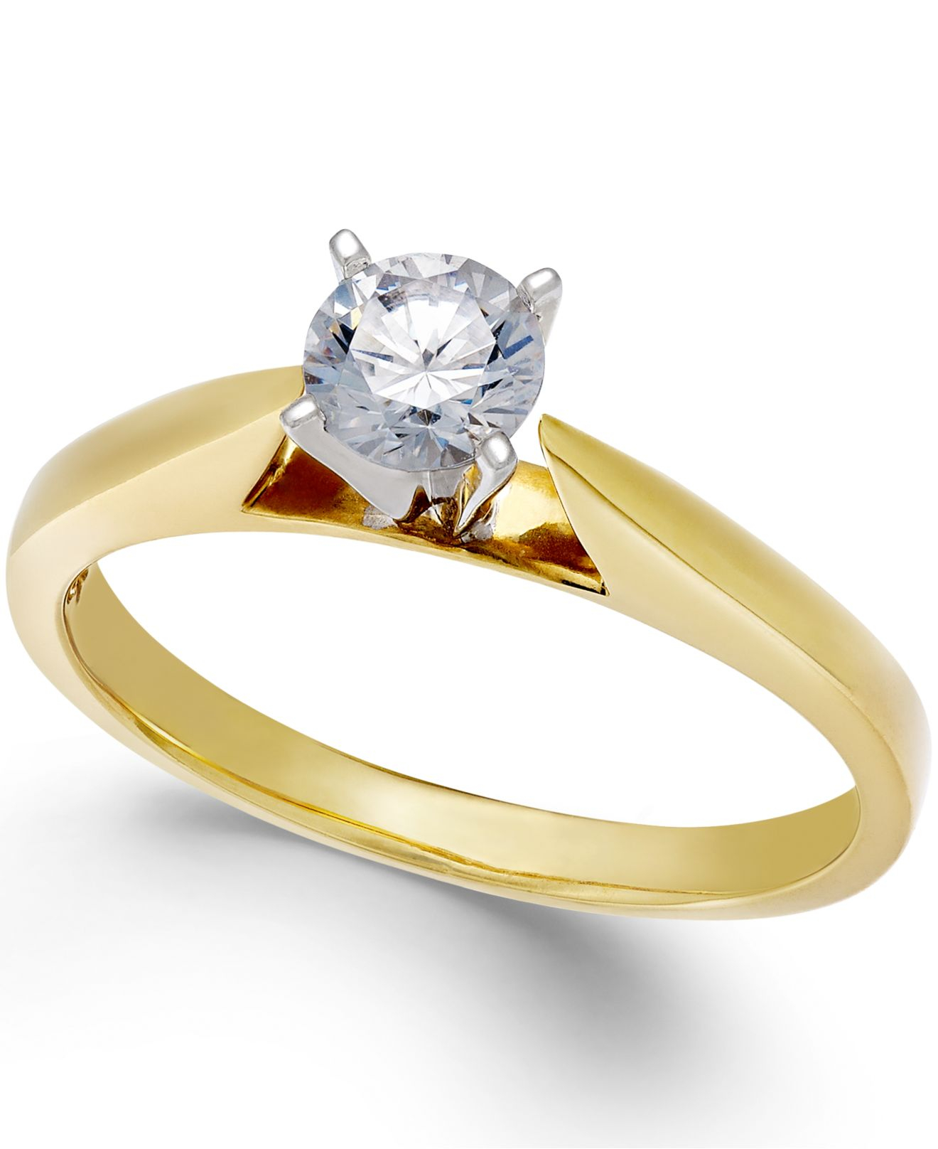 Macy s Engagement Ring Certified Diamond 1 2 Ct T w And 14k White Go