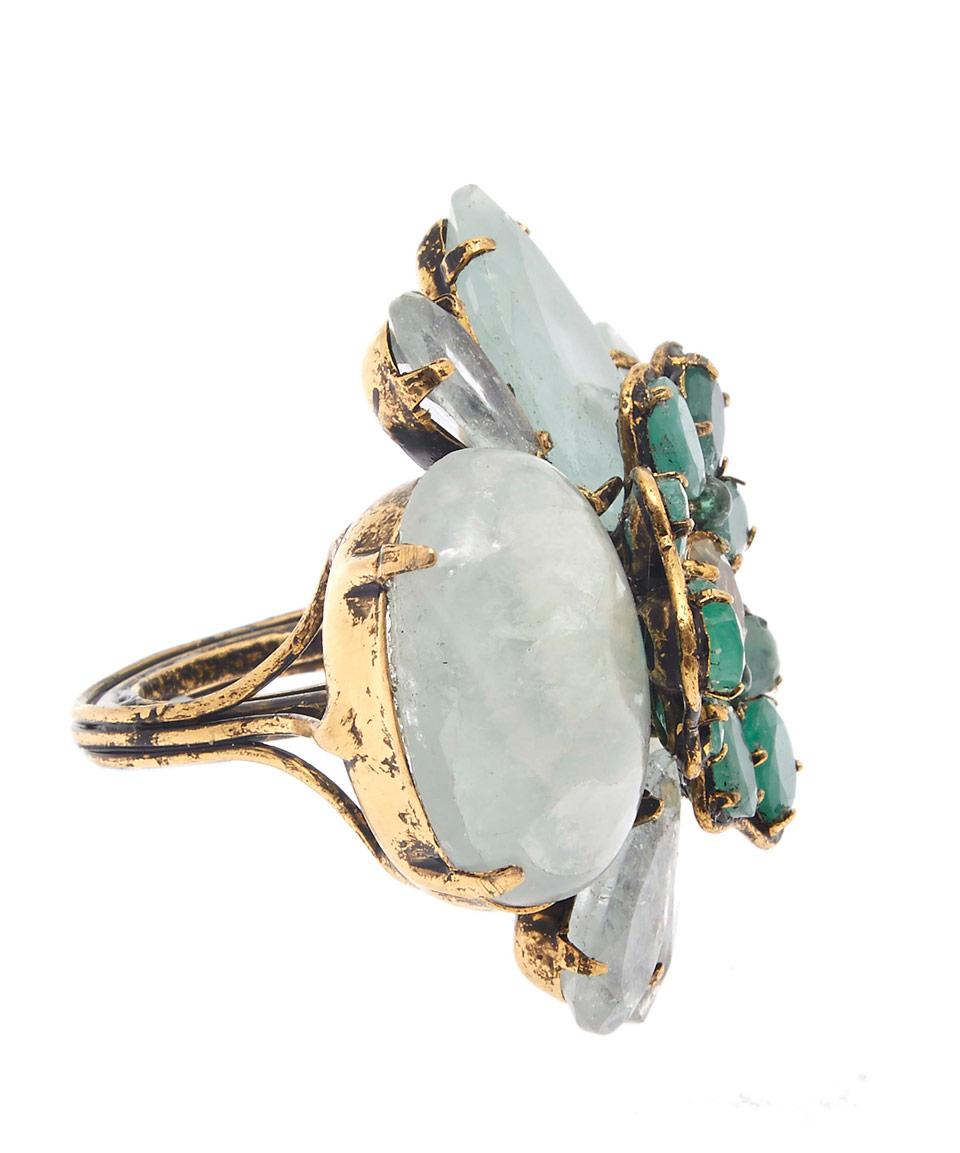 Iradj Moini Gold-Tone Quartz And Aqua Flower Ring in Metallic